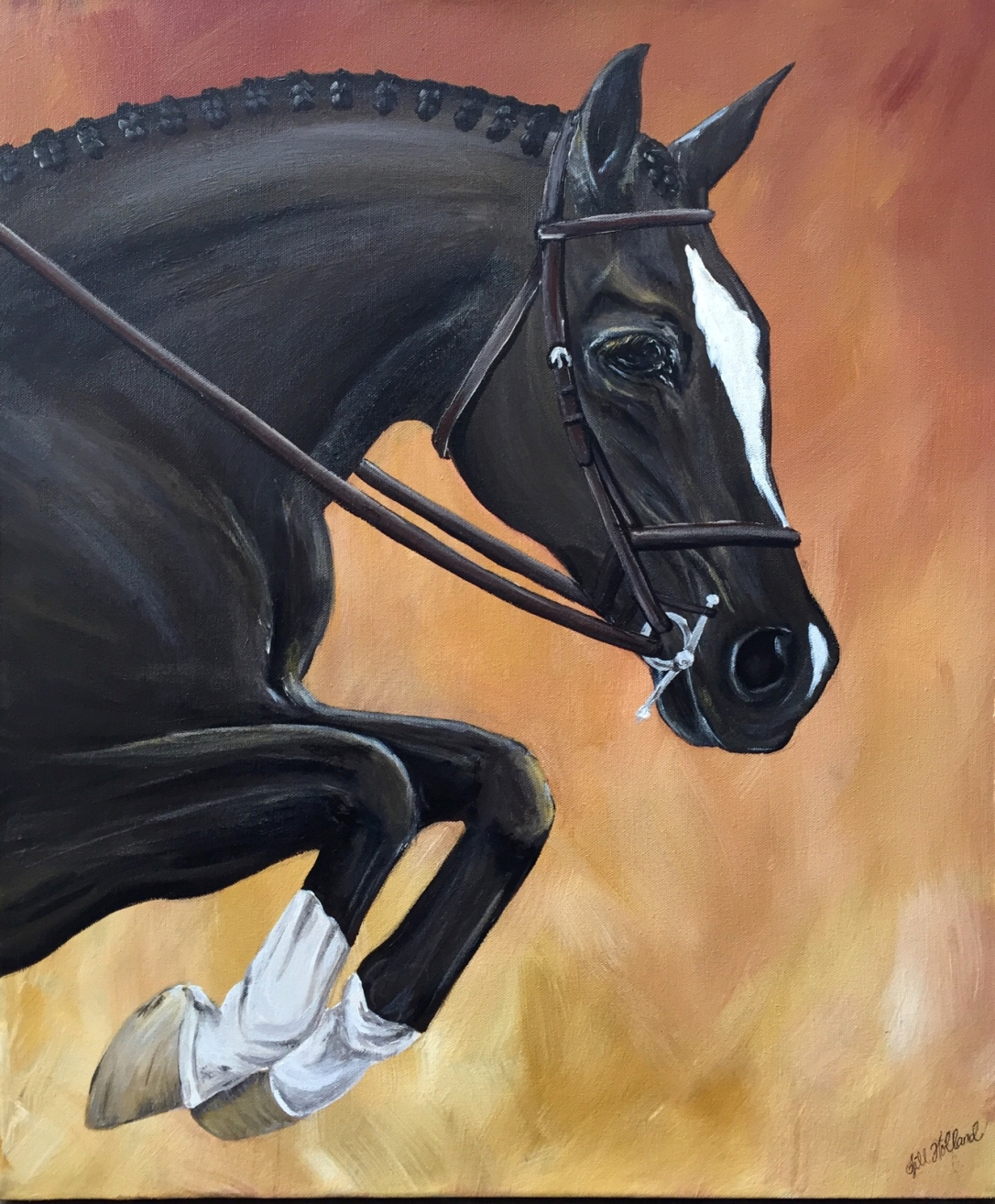 horse jumping painting